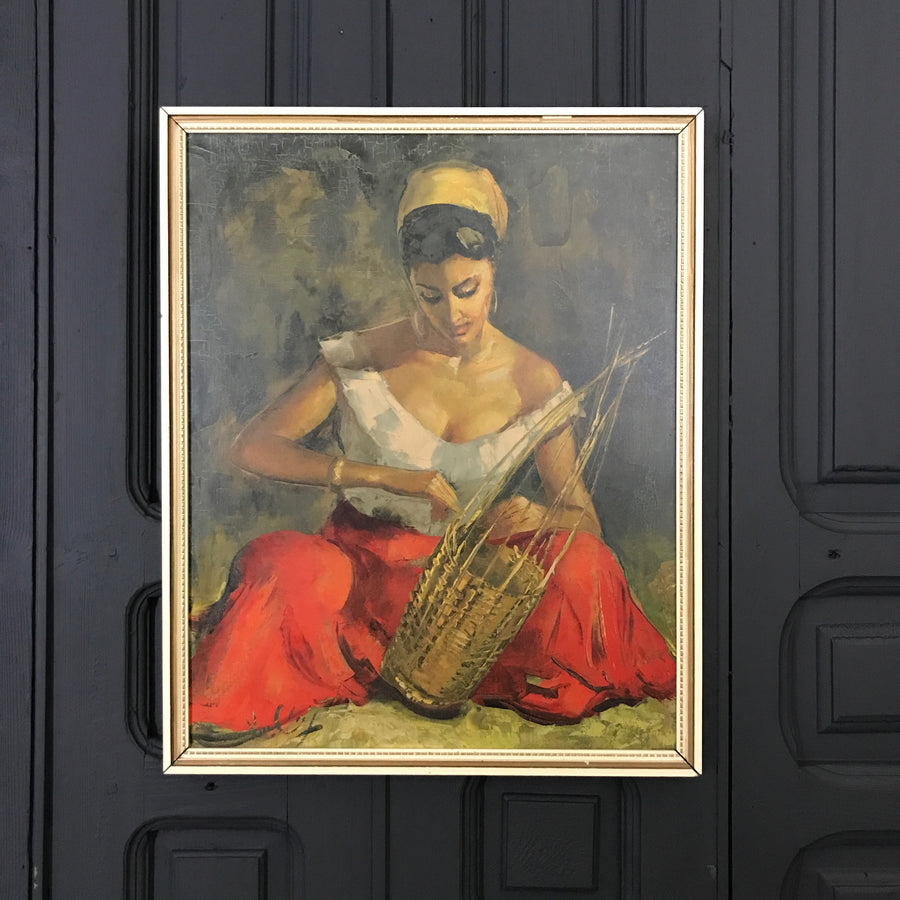 Mid Century 'The Basket Maker' Framed Print #C