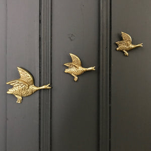 Trio of Brass Mid Century Flying Ducks #Small