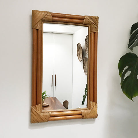 Vintage Bamboo Mirror - 'Colonial'