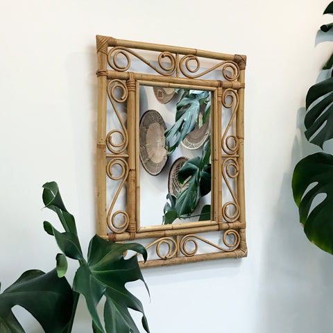 Vintage Bamboo Mirror - 'curve'