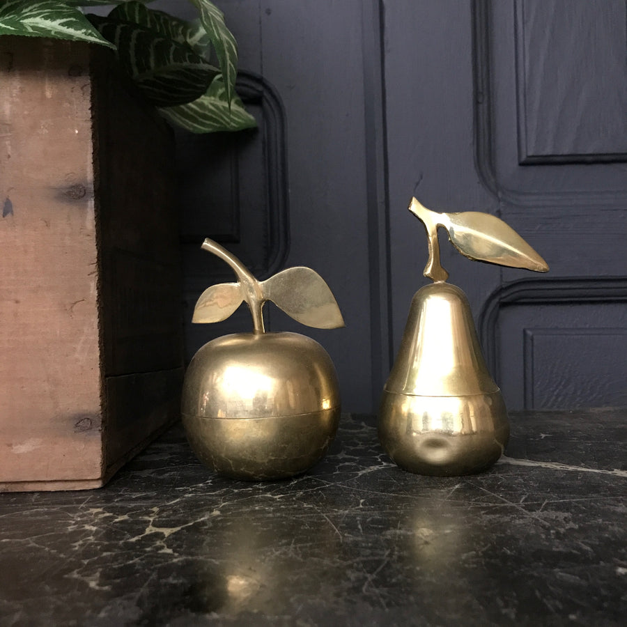 Mid Century Brass Apple & Pear Trinket Boxes