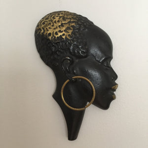 Vintage Brass African Lady Wall Plaque