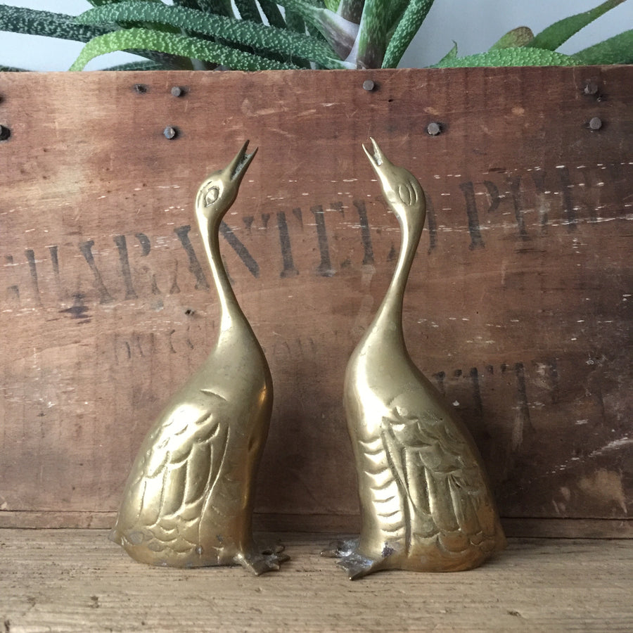 Pair of Vintage Brass Geese