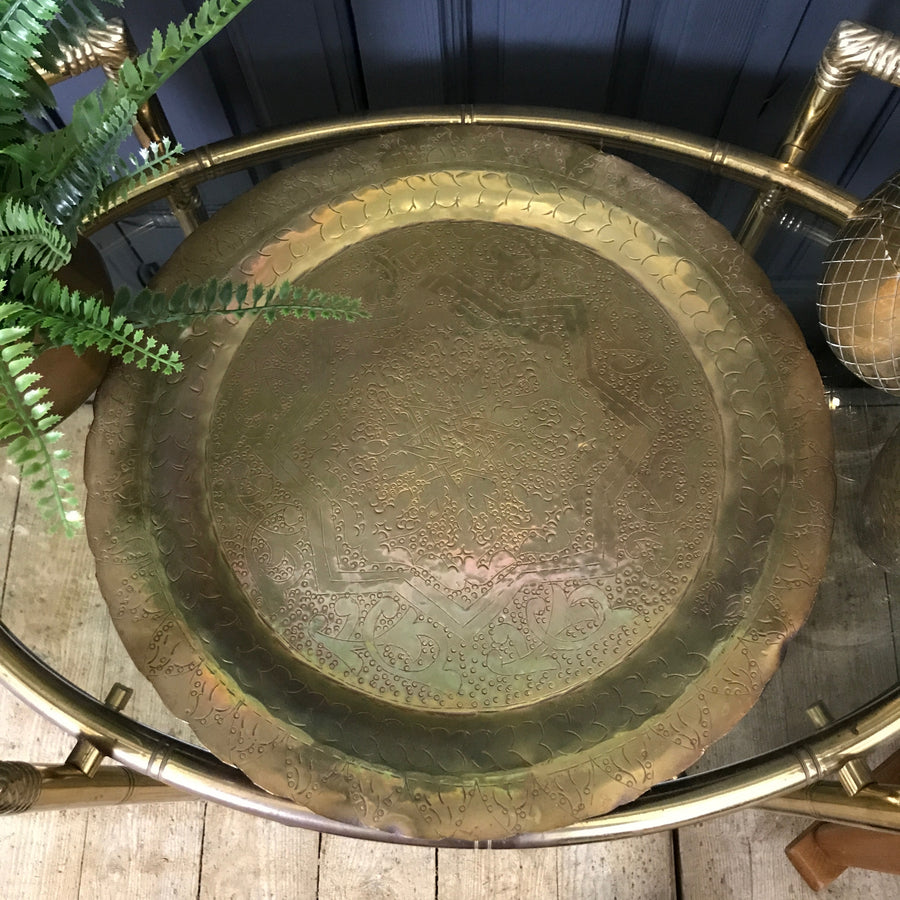 Vintage Brass Engraved Serving Tray #2