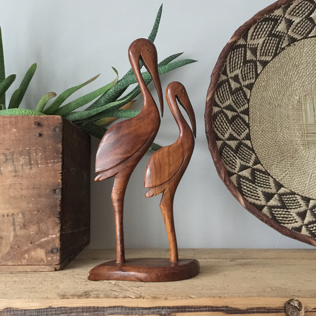 Mid Century Wooden Carved Flamingos