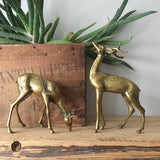 *Medium* Vintage Brass Pair of Deer