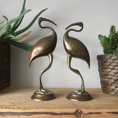 Pair of Vintage Brass Flamingos - engraved