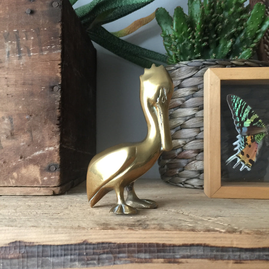Vintage Brass Pelican Ornament