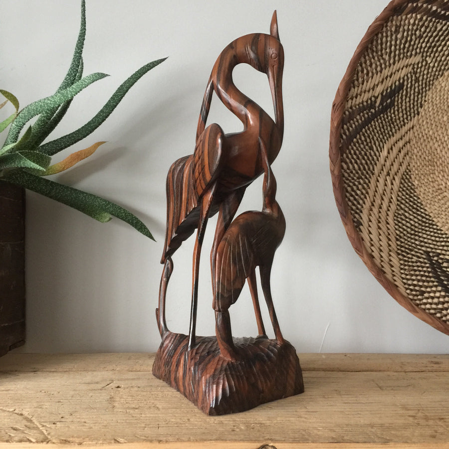 Mid century wooden crane ornament