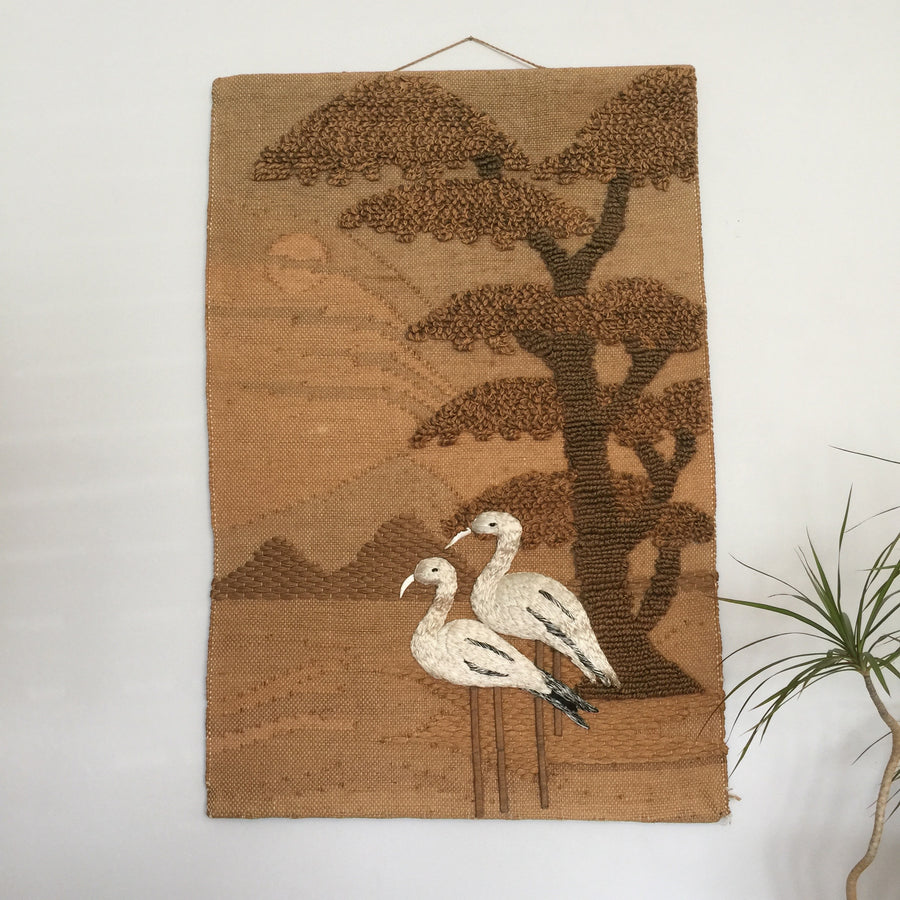 LARGE Vintage Macrame 'Flamingos' Wall Hanging