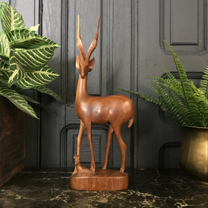 Mid Century Wooden Carved Deer/Antelope