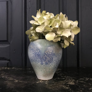 Vintage Blue Speckled Ceramic Vase