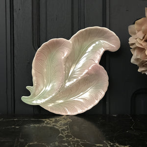 Mid Century Blush Pink/Green Feather Dish