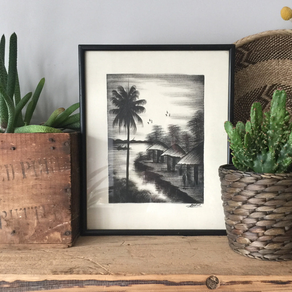 Framed Vintage Palm Tree Scene Print - Signed
