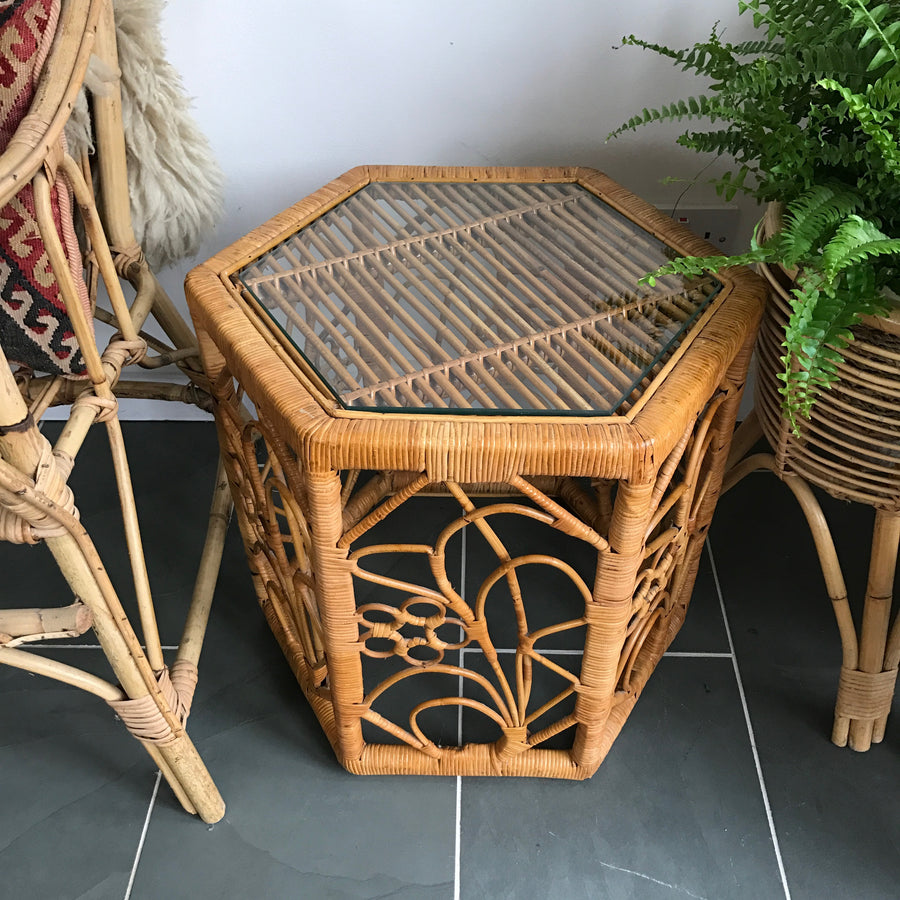 Vintage Bohemian Cane Side Table