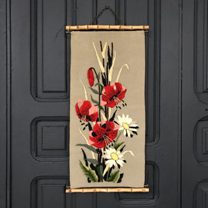 Vintage Needlwork 'Flowers' Wall Hanging