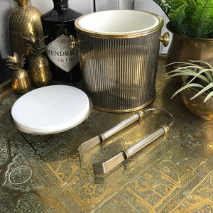 Art Deco Brass Ice Bucket with Tongs #A1