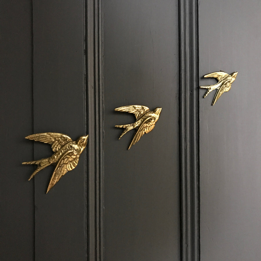 Brass Mid Century Flying Swallows #SET1