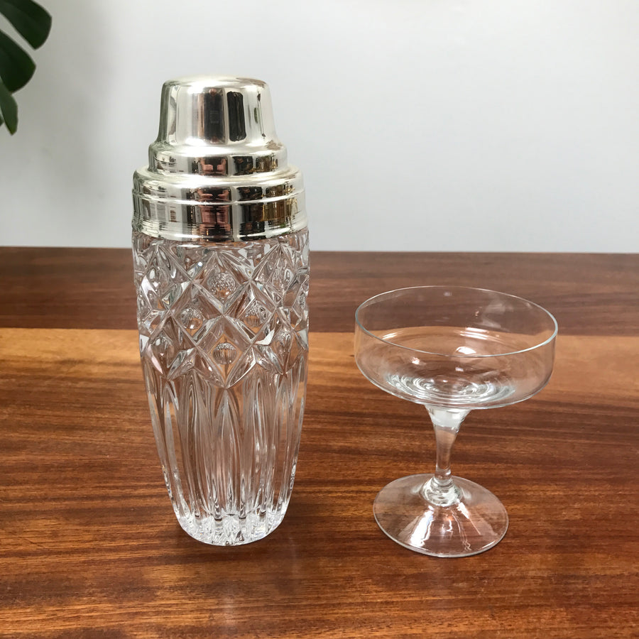 Vintage Cut Glass Cocktail Shaker