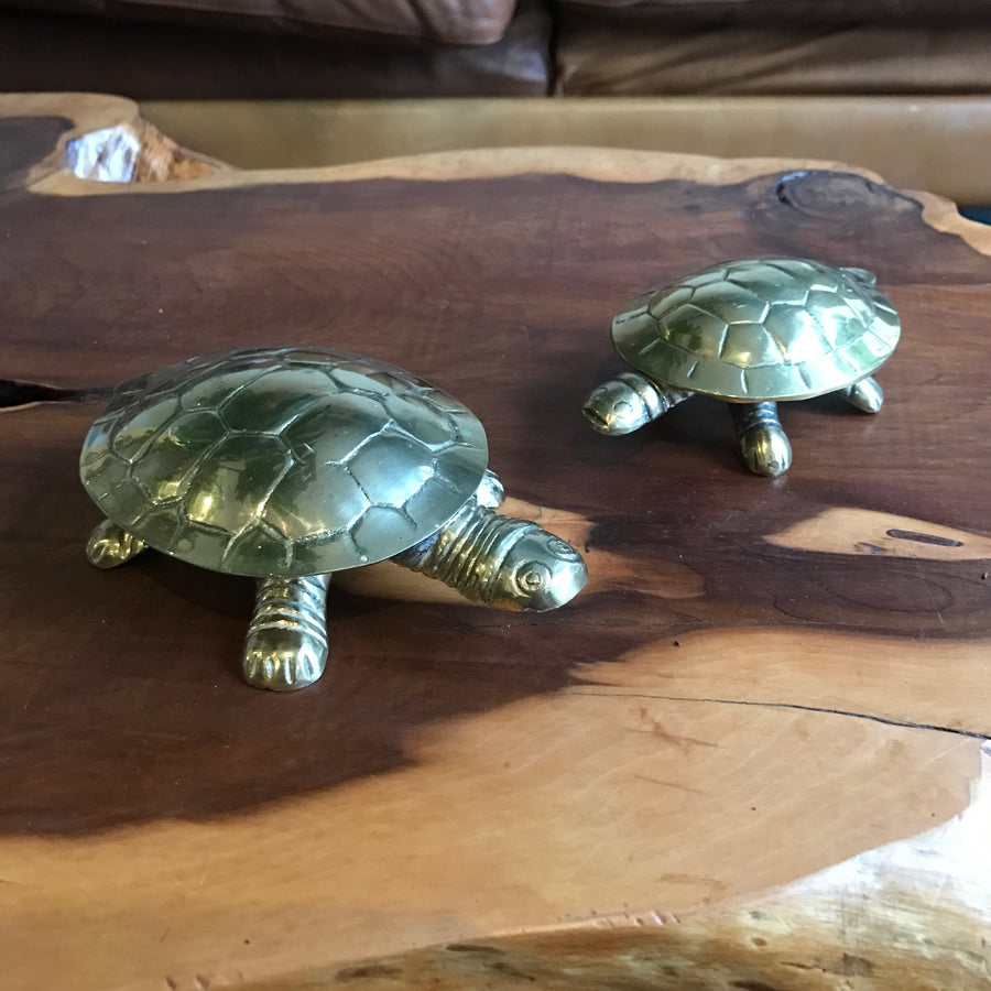 A Pair of Vintage Brass Tortoise Trinket Boxes