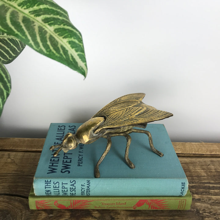 Vintage Brass Fly Insect Trinket Box/Ashtray