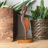 Petite Mid Century Wooden Carved Flamingo