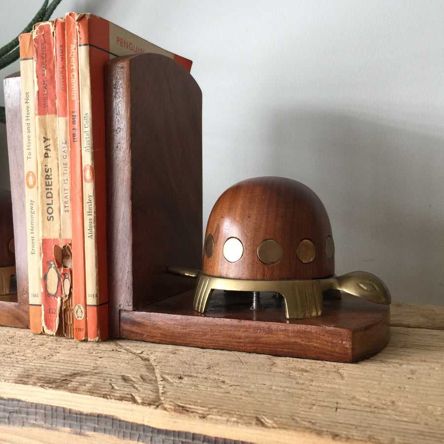 Vintage Teak & Brass Tortoise Bookends
