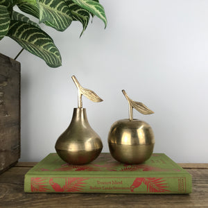 Vintage Brass Apple & Pear Trinket Boxes A11