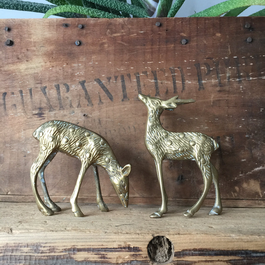*SMALL* Mid Century Brass Pair of Deer