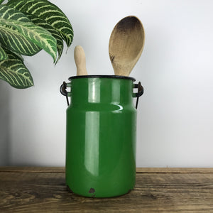 Vintage Enamel Milk Storage Can - Green