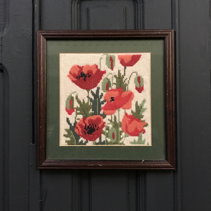 Vintage Needlework of Poppies Framed