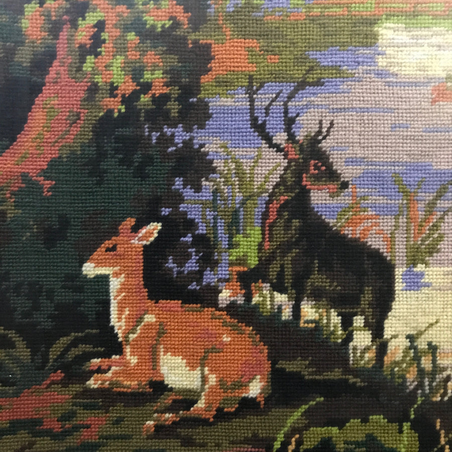 Vintage Deer Needlework Framed