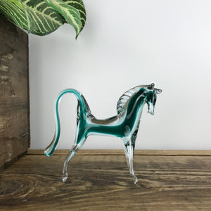 Vintage Glass Horse Ornament - Teal