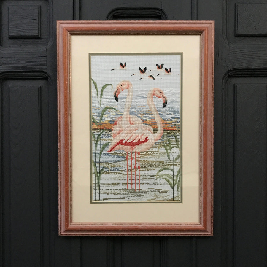 Vintage Flamingo Needlework / Wall Art