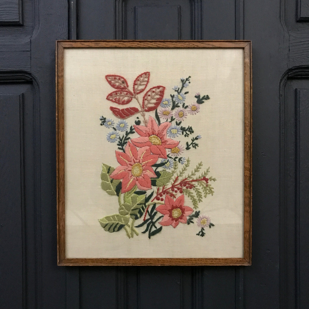 Vintage Floral Needlework Framed