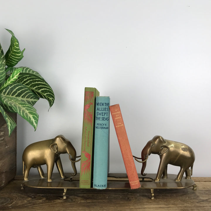 Mid Century Brass Elephants Bookshelf