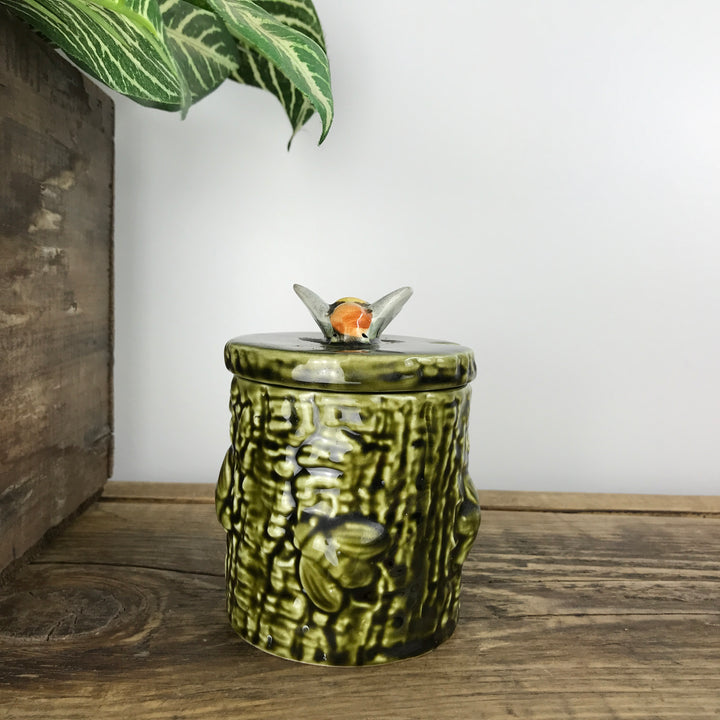 Vintage Ceramic Green Honey Pot #A11
