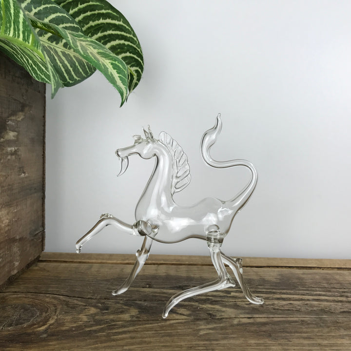 Mid Century Glass Horse Ornament #A1