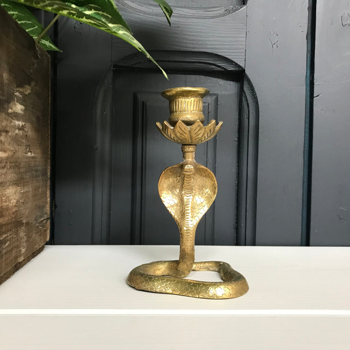 Vintage Brass Cobra Candlestick - Medium