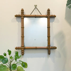 Vintage French Bamboo Mirror #Small