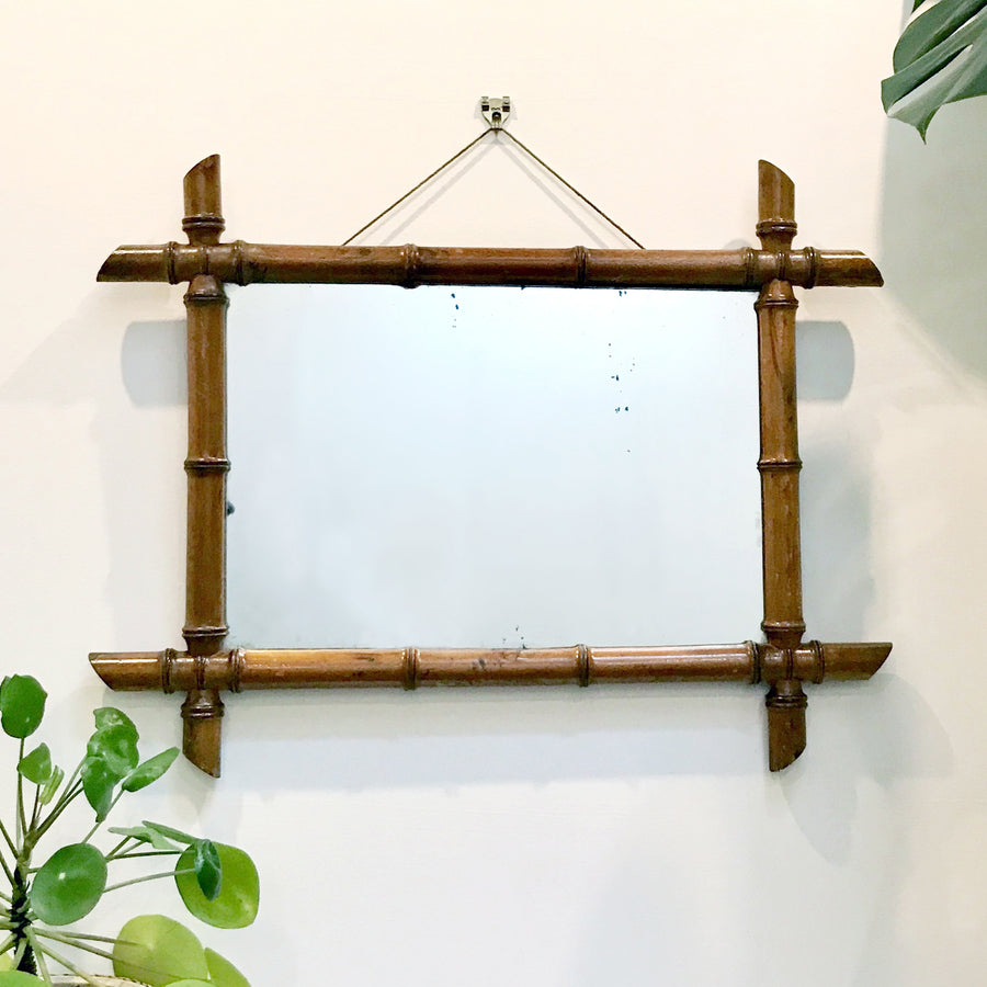 Vintage French Bamboo Mirror #Large