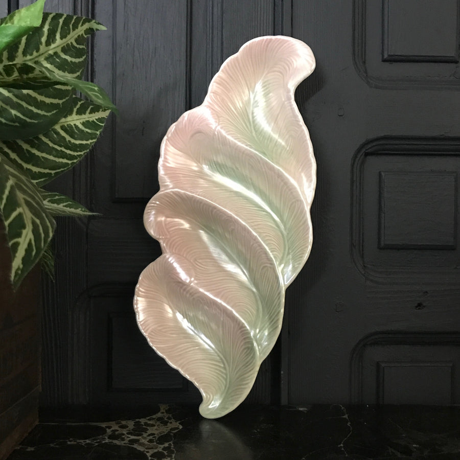 Mid Century Blush Pink/Green Feather Serving Dish #A1