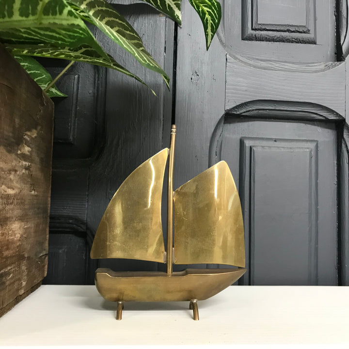Mid Century Brass Sailing Boat A1