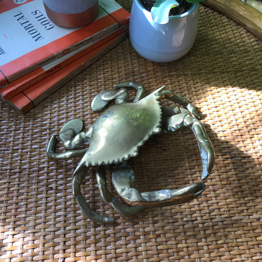 Mid Century Brass Crab Trinket Box / Ornament