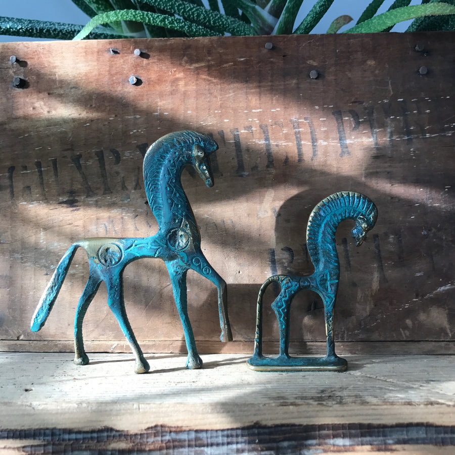 A Pair of Vintage Bronze 'Horse' Ornaments