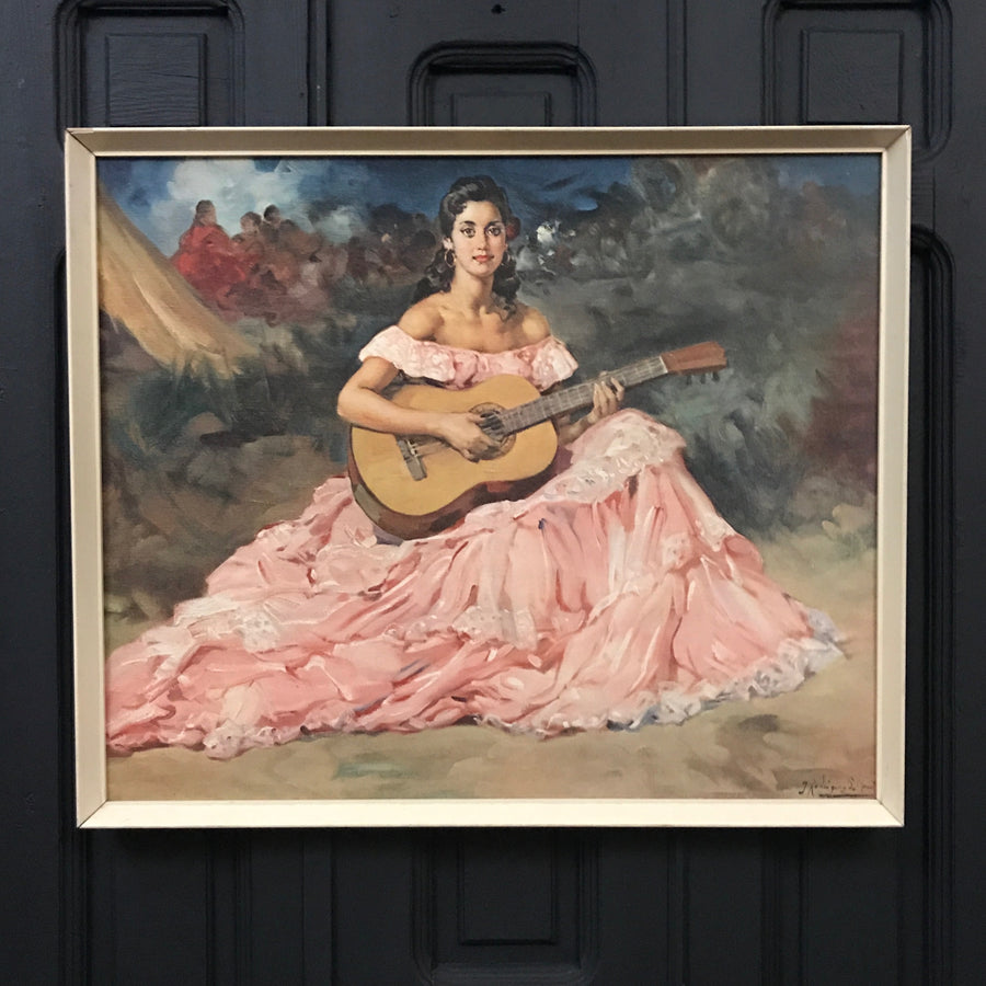 Mid Century 'Flamenco Lady' Framed Print #A1