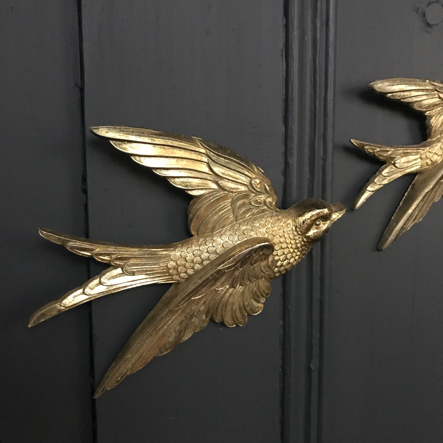 Brass Mid Century Flying Swallows #A3