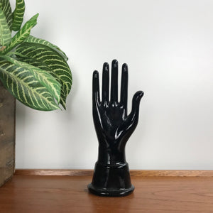 Mid Century Ceramic Black Hand Ornament