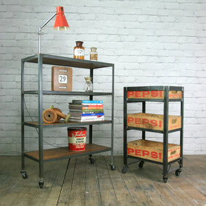 Industrial steel factory shelving rack/trolley