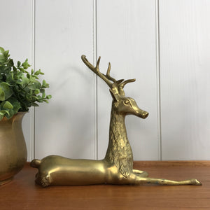 Large Mid Century Brass Deer / Stag #A1